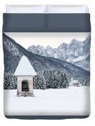 Idyllic Landscapes Immersed In The Snow. The Dream Of The Julian Alps And Valbruna Duvet Cover