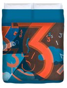 3 In Blue And Orange Duvet Cover by Break The Silhouette