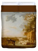 Landscape With Cattle Duvet Cover
