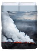 Lava And Plumes From The Holuhraun Duvet Cover