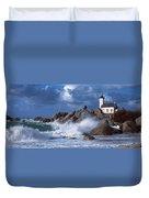 Lighthouse On The Coast, Pontusval Duvet Cover