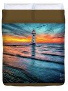 Light House Sunset Duvet Cover