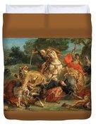Lion Hunt Duvet Cover