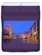Mantova City Piazza Delle Erbe Evening View Panorama Duvet Cover