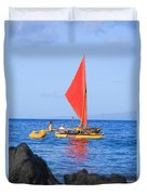 Maui Sailing Canoe Duvet Cover by Ron Dahlquist - Printscapes