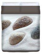 Meditation Stones On White Sand Duvet Cover