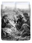 3 Men And A Dog Panning For Gold C. 1889 Duvet Cover