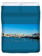 Miami Florida City Skyline Morning With Blue Sky Duvet Cover