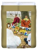 Monks Blessing Buddhist Wedding Ceremony In Cambodia Duvet Cover
