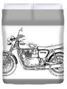 Motorcycle Art, Black And White Duvet Cover