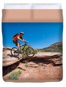 Mountain Biking The Porcupine Rim Trail Near Moab Duvet Cover