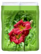 Red Lily Pair Duvet Cover