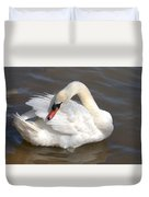 Mute Swan Grooming In Shallow Water Duvet Cover