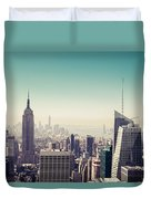 New York Manhattan Skyline At Sunset Duvet Cover