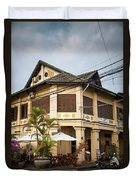 Old French Colonial Architecture In Kampot Town Street Cambodia Duvet Cover