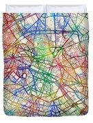 Paris France Street Map Duvet Cover by Michael Tompsett