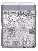 Part Of Captain J Smith's Map Of New England Duvet Cover