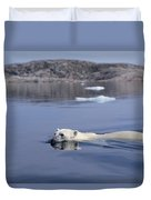 Polar Bear Swimming Wager Bay Canada Duvet Cover