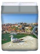 Porto Skyline Seagull Duvet Cover