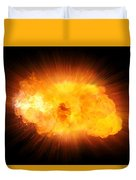 Realistic Fire Explosion, Orange Blast With Sparks Isolated On Black Background Duvet Cover