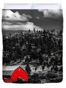 Red Barn In Wyoming Duvet Cover
