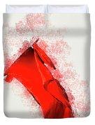 Red Flag On Black Background Duvet Cover