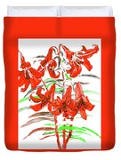 Red Lilies, Hand Drawn Painting Duvet Cover