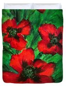 3 Red Poppies Duvet Cover