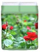 Red Roses Garden Spring Season Duvet Cover