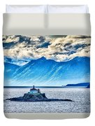 Remote Lighthouse Island Standing In The Middle Of Mud Bay Alask Duvet Cover