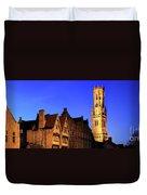 River Dijver And The Belfort At Night, Rozenhoedkaai, Bruges Duvet Cover