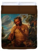 Satyr Playing The Pipe Duvet Cover