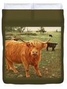 Scottish Highlander With Big Bangs Duvet Cover