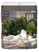 3 Seagulls In A Row Duvet Cover