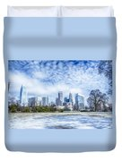 Snow And Ice Covered City And Streets Of Charlotte Nc Usa Duvet Cover