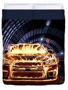 Sports Car In Flames Duvet Cover