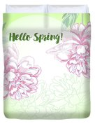 Spring  Background With White And Pink Peony Duvet Cover