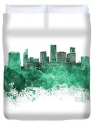 St. Paul Skyline In Watercolor Background Duvet Cover