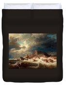 Stormy Sea With Ship Wreck Duvet Cover