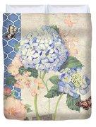 Summer Memories - Blue Hydrangea N Butterflies Duvet Cover