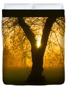 Sunrise Trees Fog Duvet Cover