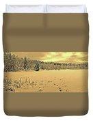Sunset At Winter Lake Duvet Cover