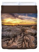 Sunset Over Walls Of China In Mungo National Park, Australia Duvet Cover