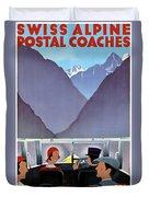 Switzerland Vintage Travel Poster Restored Duvet Cover