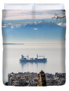 Thessaloniki With View Of Olympus Duvet Cover
