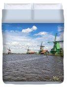 Traditional Dutch Windmills At Zaanse Schans, Amsterdam Duvet Cover