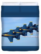 U S Navy Blue Angeles, Formation Flying, Smoke On Duvet Cover