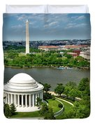 View Of The Jefferson Memorial And Washington Monument Duvet Cover