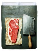 Vintage Cleaver And Raw Beef Steak Duvet Cover