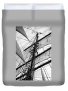 Vintage Style Picture Of Beautiful Sail Boat Details. Rope, Hull Duvet Cover